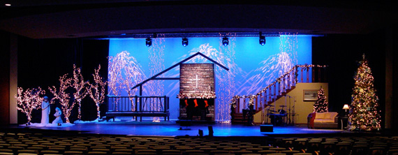 A Christmas Scene Church Stage Design Ideas Scenic