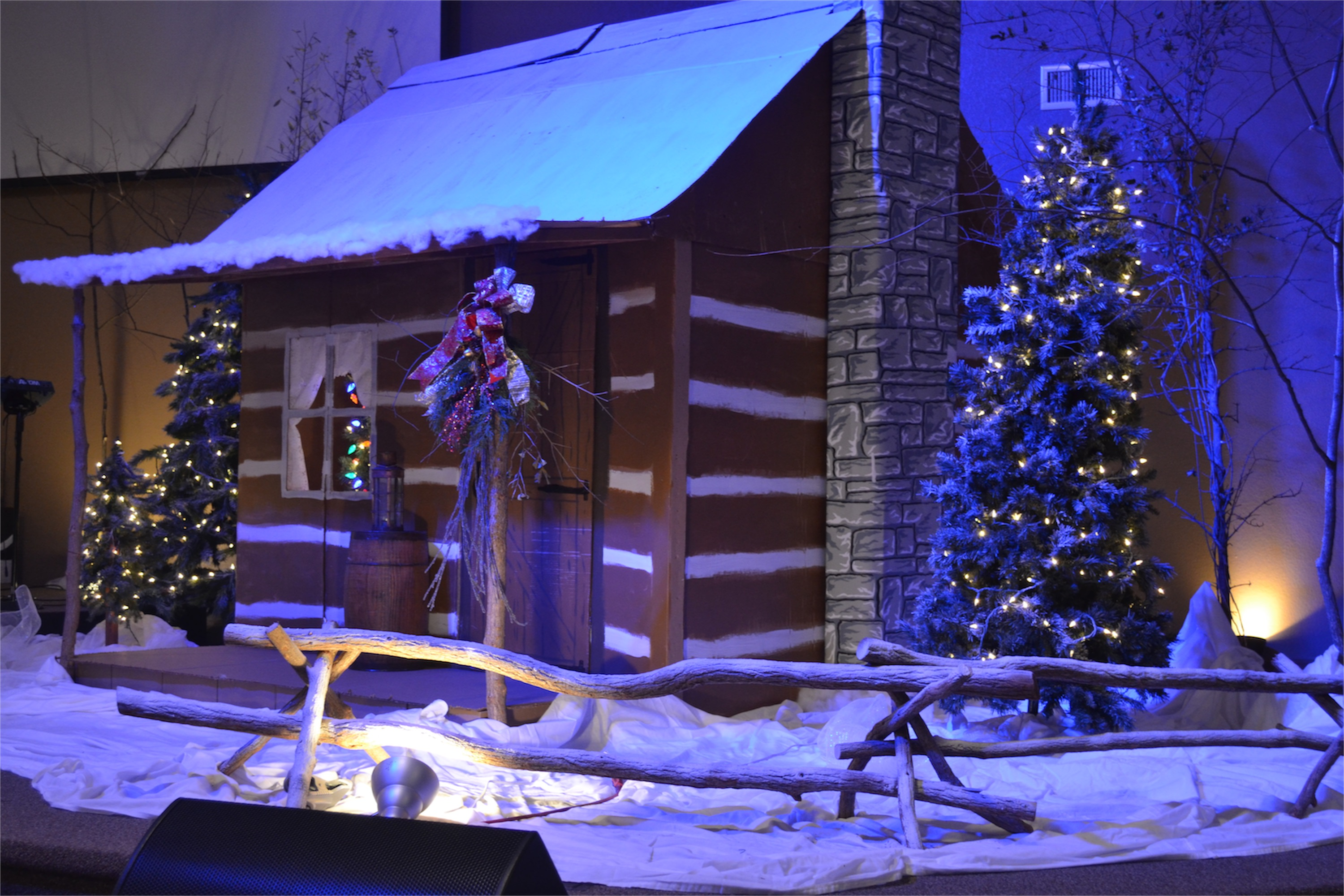 Christmas Village - Church Stage Design Ideas - Scenic sets ... on fence with outdoor christmas lights, fence split rail christmas decorating, fence post christmas ideas, fence painting ideas,