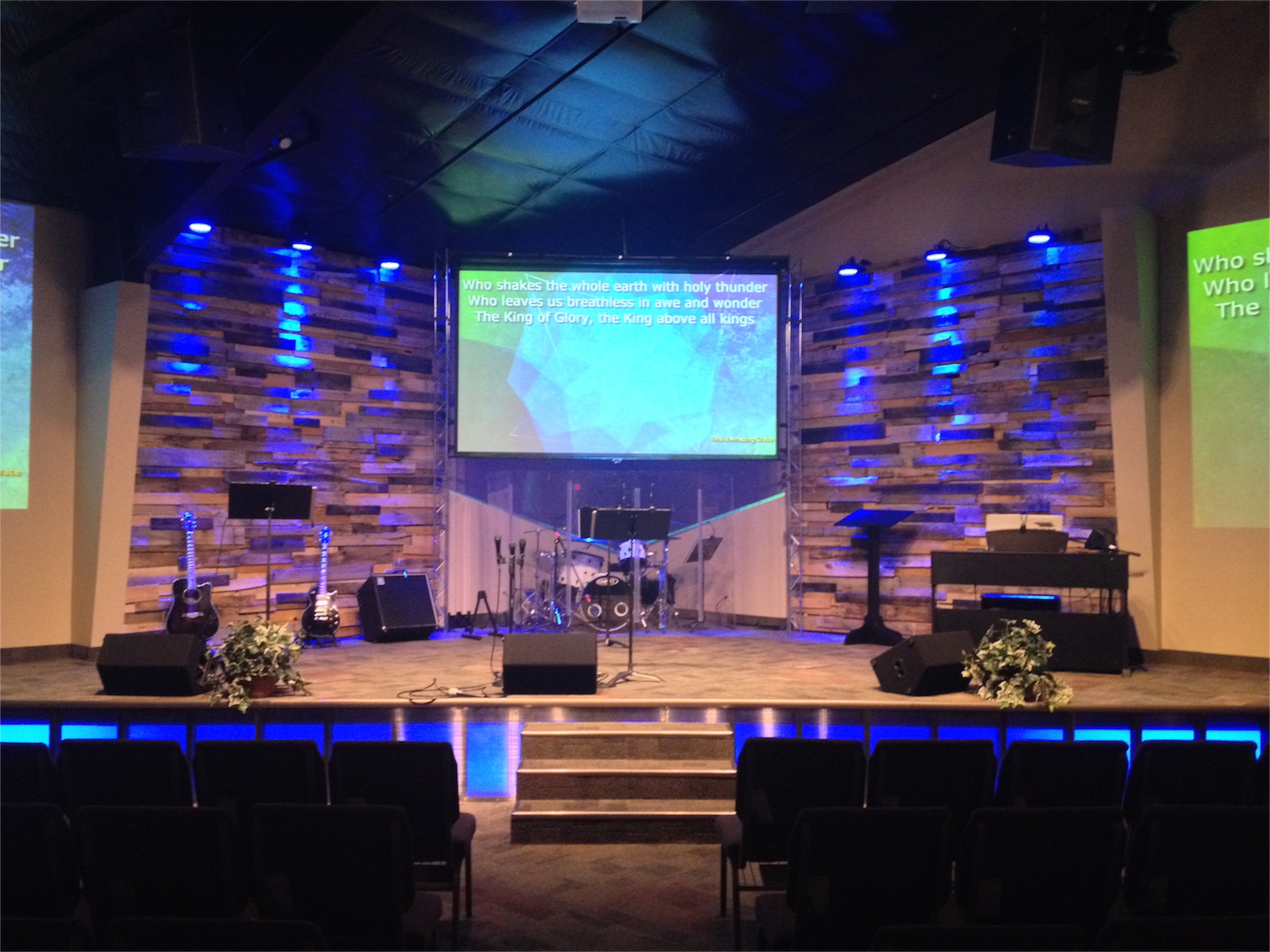 Glowing Stage Front Church Stage Design Ideas
